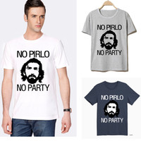 t-shirts no logo - Logo Printed NO PIRLO NO PARTY Andrea Juventus Men T Shirts Round Neck Short Sleeve Vintage Sports t shirts Popular Casual Tees