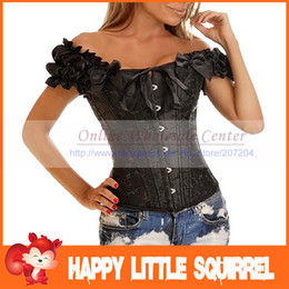 Wholesale new Sexy Whiteand Black Full Steel Bones Lace Up Corset Top Bustier with G string S XL drop shipping