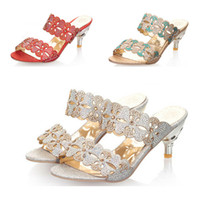 Wholesale New Fashion rhinestone cut outs women high heel sandals Casual ladies shoes slippers women sandals with floral L10