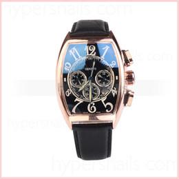 Wholesale FM Tonneau Week Date Display Golden Bezel Large Size Numerals Dial Black Leather Strap Mechanical Men s Watch