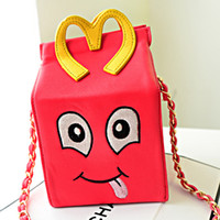 Wholesale Women s French Fries M Clutches bags embroidery Shoulder Crossbody Bags Diagonal phone box smiling female bag