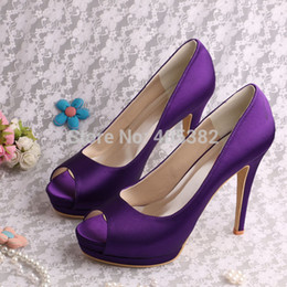 Wholesale-(More Colors)Top Quality Customized Large Size Purple Platform Shoes High Heels Peep Toes Free Shipping