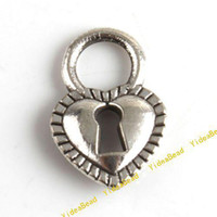 Wholesale 200 New Heart Lock Charms Pendant Jewerly Accessories Metal Alloy Antique Silver Pandent