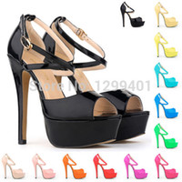 Cheap Wholesale-PARTY BRIDAL PLATFORM ANKLE STRAPS HIGH HEELS PEEP TOE SHOES STRAP SANDALS US 4-11