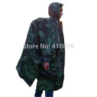 Wholesale Riding raincoat woodland camouflage rain poncho multifunctional camping mat rain poncho camo net military poncho