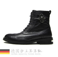 Cheap Wholesale- New German super PP Men brand Genuine leather army boots tide men's shoes British fashion Martin boots ! 38-44 free shipping