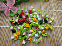 Wholesale Satin Ribbon Artificial Rose Flowers Bows Rose Sewing Wedding Decoration Appliques For DIY Scrapbooking