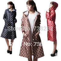 Wholesale Korean Ladies woman New Fashion Womens Waterproof Outdoor Outerwear Hooded Cover Rain Coat Dot Pockets Knee Length Raincoat