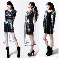 Wholesale Transparent Vinyl Raincoat Runway Style Womens Girls Clear Fashion Rain Coat longer version