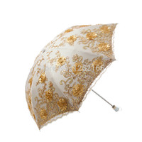 Wholesale super sun block double layer anti UV sunshade umbrella two folding embroidery lace princess parasol for women