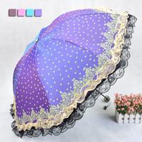 Wholesale Brand Chameleon Women Sun Rain Umbrella Vinyl Anti UV Waterproof Wind Resistance Folding Double Lace Parasol Umbrellas KT0005
