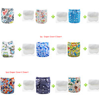 prefold - Double Snaps cartoon character prefold reusable baby cloth diapers Microfiber Insert sets