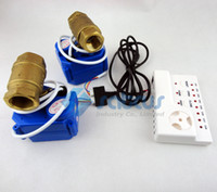 auto water valve - Water Leakage Detection Alarms System with Two Copper Valves DN15 For Cold and Hot Water Auto Lock Switch Prevent Water Flood