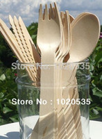 disposable spoon - CM Disposable Wooden Flatware Knife Fork cutlery spoon Eco Friendly For Party Weddings Ice Cream Small Cupcake Birch Wood