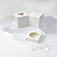 Wholesale Pieces x3x3 Clear Frosted White Cupcake Boxes Insert Included for Wedding Party