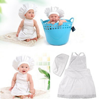 baby chef costume - Lovely White Chef Hat And Apron Baby Suit Child Photo Shoot Props European Cooking Dress Children Costume