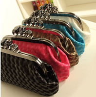 Cheap Wholesale-Hot new women finger knuckle duster ring diamond skull frame black day clutch evening purse Bag,punk designer party handbag item