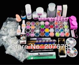 Wholesale Full Acrylic Powder Liquid Primer UV NAIL ART Dust Sticker Brush TIP Tools Nail Art KitS Set
