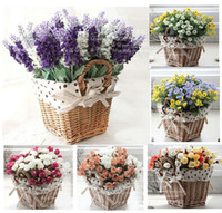 square vase - rattan square storage basket vase with lavender rose artificial flower home decor wedding decorative flowers