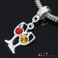 Wholesale European Charm slide pendants Wine Glass Goblet Silver Plated Red Yellow Rhinestone x1 cm Hole mm B26701 seasons