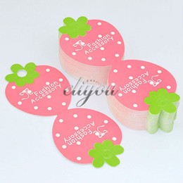 Wholesale-Free Shipping 100pcs lot Paper Pink Green Strawberry Necklace Pendant Bracelet Jewelry Packaging Display Cards 112x45mm DC72