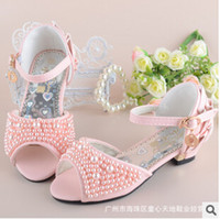 Wholesale frozen shoes summer girls high heel rhinestone Pearl Sandals new children s fish mouth shoes girls princess shoes