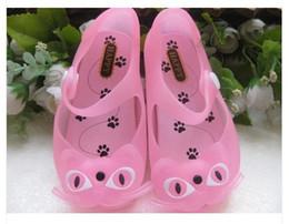 Jalea al por mayor de los gatos en venta-el envío 2015 nuevos zapatos de la jalea de cristal claras de los niños, sandalias de la playa los niños y niñas gato mayor-Libre de dibujos animados