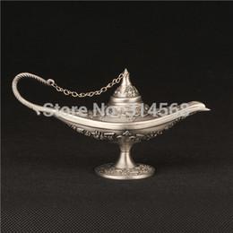 Wholesale Silver Tin Aladdin Magic Lamp Bronze Colored Outdoor Lamps Tea Pot Genie Lamp Vintage Retro Souvenir Collectable Home Decoration