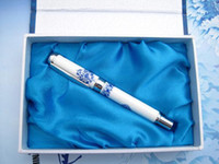 Cheap Novelty Gift Pens Fashion China Blue and white porcelain Craft Hard Cover Fountain Pen 10pcs Free