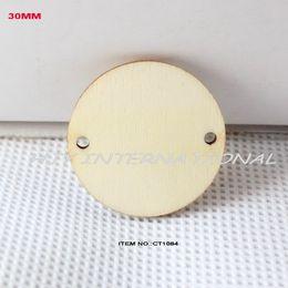 Gros- (150pcs / lot) 2 trous suspendus cercle rond inachevé disques en bois fournitures coupées outs artisanat du bois 1 1/4