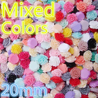 Wholesale mixcolour resin rose flower mm resin flower Mixed colors Flowers Cabochons Cameo DIY