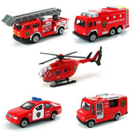 aerial fire truck - Children s Toys Helicopter Aerial Fire Truck Series Five Small Packages Alloy Car Models Car Models Hot Sale