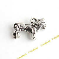 Wholesale 120 Charms Pendants Carved Lion Alloy pandent Beads Fit Diy Beads Necklace