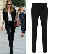 Wholesale Hot new Lady Zip Pencil Pants Women High Waisted Slim Stretch Leggings Trousers DF