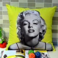 Cheap Wholesale-45 *45 cm Home Decor Retro Vintage Photograph Marilyn Monroe Printed Microfiber Throw Pillow Case for Sofa Bedding, Yellow