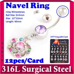 Wholesale-Flower Belly Piercing Jewelry Stainless Steel Boday Jewllery Rhinestone Dangle Rings Navel Rings Bar Rings 12pcs pack 33210