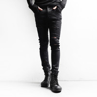 new style man jeans - Those days new men jeans HARAJUKU hole beggar denim pants slim all match punk yuppies style unique jeans
