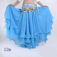 Belly Dancing Chiffon Ruffled 12pcs lot Tribal Dancewear 3 LAYERS chiffon Belly Dance costume dancing skirt dress super weit 12m