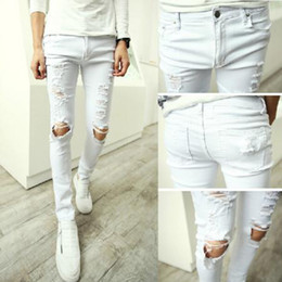 Wholesale-Men's Stylish Retro Skinny Casual Street Cotton Ripped Jeans Pants Cool Trousers