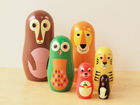 Wholesale Handmade Matryoshka Doll Wooden toys Russian Nesting Dolls Wildlife design