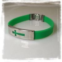 Wholesale Mix Colour Cross Silicone Bracelet Stainless Steel Buckle Bracelets