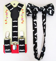 Cheap Wholesale-Free Shipping 2015 New Fashion Kids Children Black Moustache Print Bow tie And Suspender Sets For Boys