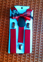 Cheap Wholesale-Elastic Burgundy Suspender and Bow Tie Set for Boys Girls Kids Free Shipping