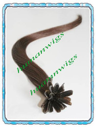 Wholesale Silky straight Nail tip U tip hair extension Keratin Glue Tip Chocolate brown