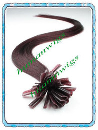 Wholesale 18 quot Remy Nail tip U shape hair extensions Great quality Dark wine J