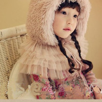 Wholesale sale shawls and hijabs winter scarf for children warm outdoors fur Princess lace shawl for child