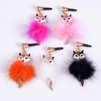 Wholesale Whole sale Fox diamond Dust plug mm plug for Mobile phone ornaments mix color order