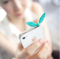 Cheap Wholesale-Min.order is $10(Mix order) Free Shipping Cell Phone Accessories Bunny Ear Dust Plug DP119