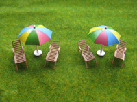 Wholesale Sun Lounger Wholesale - Wholesale-YZ8701 Model 1:87 Color Parasols and Sun Loungers Beach Chairs HO OO