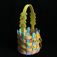 Wholesale Eva DIY Cartoon Flower Basket Handmade Kids Bag Gift Child Educational Traning D Puzzle Sticker Toys Designs